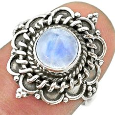 2.53cts solitaire natural rainbow moonstone round silver ring size 6.5 t41394