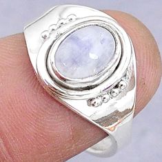 2.36cts solitaire natural rainbow moonstone silver adjustable ring size 6 t8800