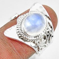 4.35cts solitaire natural rainbow moonstone silver adjustable ring size 7 r49609