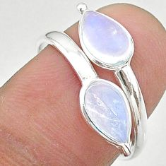 3.42cts solitaire natural rainbow moonstone silver adjustable ring size 8 t19132