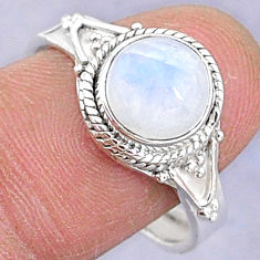 3.51cts solitaire natural rainbow moonstone silver adjustable ring size 8 t8813