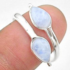 3.94cts solitaire natural rainbow moonstone silver adjustable ring size 9 t19136