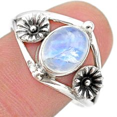 3.31cts solitaire natural rainbow moonstone silver flower ring size 9.5 t25132