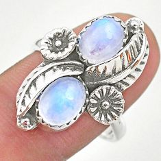 4.40cts solitaire natural rainbow moonstone silver flower ring size 8.5 t25257