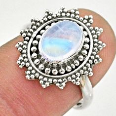 2.11cts solitaire natural rainbow moonstone silver flower ring size 7.5 t43879