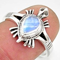 1.45cts solitaire natural rainbow moonstone silver tortoise ring size 7.5 r40659