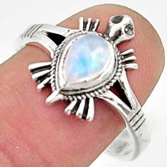 1.56cts solitaire natural rainbow moonstone silver tortoise ring size 8.5 r40660