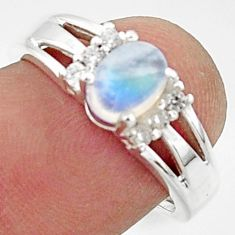 2.09cts solitaire natural rainbow moonstone topaz 925 silver ring size 7 r40798