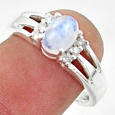 2.08cts solitaire natural rainbow moonstone topaz 925 silver ring size 8 r40799