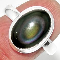 6.39cts solitaire natural rainbow obsidian eye 925 silver ring size 8.5 r51332