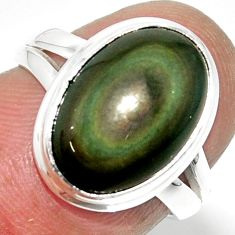6.39cts solitaire natural rainbow obsidian eye 925 silver ring size 5.5 r51339