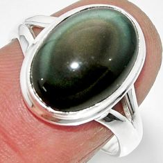 6.70cts solitaire natural rainbow obsidian eye 925 silver ring size 7.5 r51346