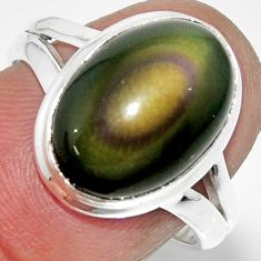 6.72cts solitaire natural rainbow obsidian eye 925 silver ring size 7.5 r51351