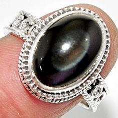 6.56cts solitaire natural rainbow obsidian eye 925 silver ring size 8.5 r52002