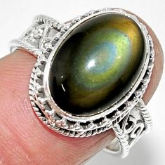 6.57cts solitaire natural rainbow obsidian eye 925 silver ring size 7.5 r52013
