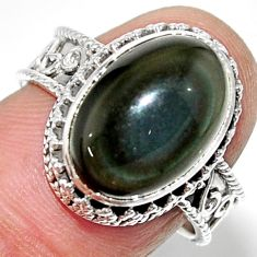 7.01cts solitaire natural rainbow obsidian eye 925 silver ring size 7.5 r52015