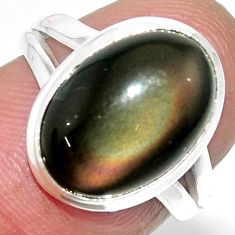 6.39cts solitaire natural rainbow obsidian eye 925 silver ring size 6 r51336