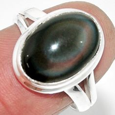 6.39cts solitaire natural rainbow obsidian eye 925 silver ring size 7 r51357