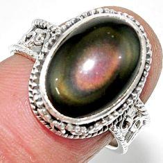 6.80cts solitaire natural rainbow obsidian eye 925 silver ring size 7 r52003