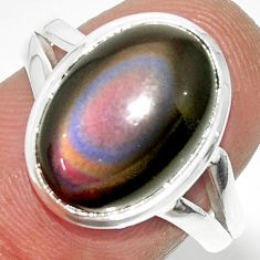 6.72cts solitaire natural rainbow obsidian eye 925 silver ring size 8 r51325