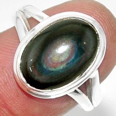 6.70cts solitaire natural rainbow obsidian eye 925 silver ring size 8 r51337