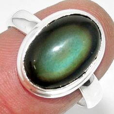 6.39cts solitaire natural rainbow obsidian eye 925 silver ring size 8 r51354