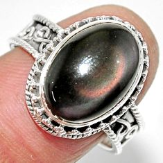 6.57cts solitaire natural rainbow obsidian eye 925 silver ring size 8 r52001