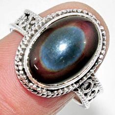 6.33cts solitaire natural rainbow obsidian eye 925 silver ring size 8 r52005