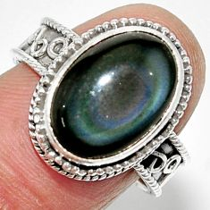 6.60cts solitaire natural rainbow obsidian eye 925 silver ring size 8 r52006