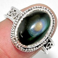 6.33cts solitaire natural rainbow obsidian eye 925 silver ring size 8 r52017