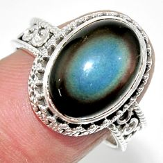 7.21cts solitaire natural rainbow obsidian eye 925 silver ring size 8 r52020