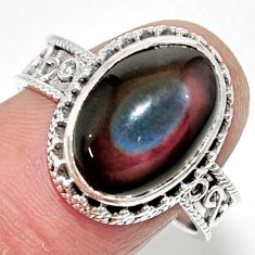 7.38cts solitaire natural rainbow obsidian eye 925 silver ring size 9 r52011
