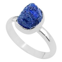 4.46cts solitaire natural raw sapphire raw 925 silver ring size 9 t33435