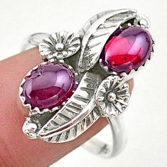 4.55cts solitaire natural red garnet 925 silver flower ring size 9 t25241