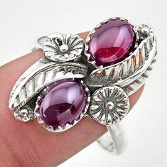 4.52cts solitaire natural red garnet 925 silver flower ring size 9.5 t25264