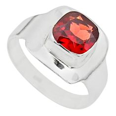 2.11cts solitaire natural red garnet 925 silver ring jewelry size 7 t23149