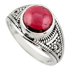 4.67cts solitaire natural red garnet 925 sterling silver ring size 8.5 r40713