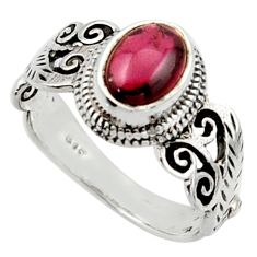 2.01cts solitaire natural red garnet 925 sterling silver ring size 7.5 r40727