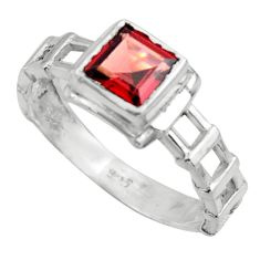 1.30cts solitaire natural red garnet 925 sterling silver ring size 7.5 r41923