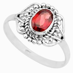 1.57cts solitaire natural red garnet 925 sterling silver ring size 7.5 r87341