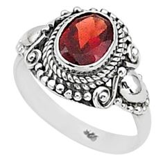1.81cts solitaire natural red garnet 925 sterling silver ring size 6 t1414