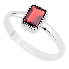 1.46cts solitaire natural red garnet 925 sterling silver ring size 6 t7385