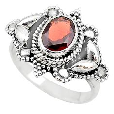 2.03cts solitaire natural red garnet 925 sterling silver ring size 7 t19897