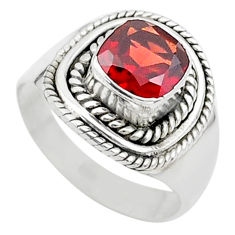2.81cts solitaire natural red garnet 925 sterling silver ring size 7 t23142
