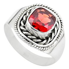 2.44cts solitaire natural red garnet 925 sterling silver ring size 7 t23143