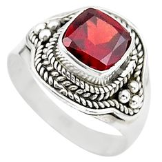 2.41cts solitaire natural red garnet 925 sterling silver ring size 7 t23155