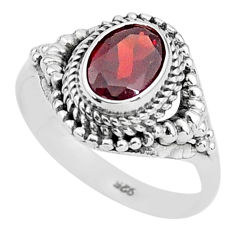 2.02cts solitaire natural red garnet 925 sterling silver ring size 7 t3979