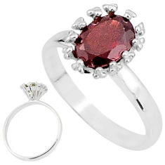 2.02cts solitaire natural red garnet 925 sterling silver ring size 7 t7203