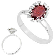 2.22cts solitaire natural red garnet 925 sterling silver ring size 7 t7205