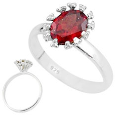2.22cts solitaire natural red garnet 925 sterling silver ring size 7 t7206